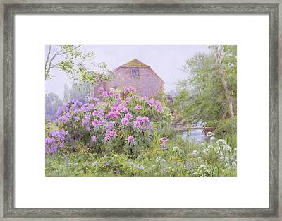 Rhododendrons By A Watermill Framed Print