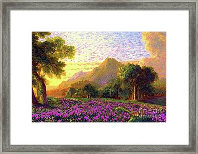 Rhododendrons, Rabbits And Radiant Memories Framed Print by Jane Small