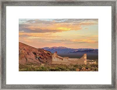 Framed Print featuring the photograph Rhyolite Bank At Sunset by James Eddy