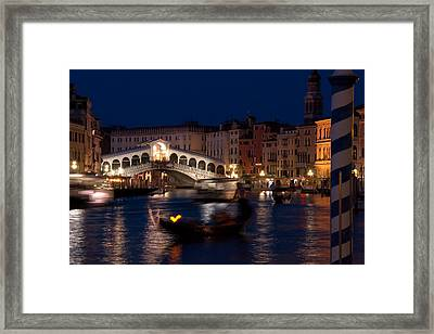 Rialto Bridge In Venice At Night With Gondola Framed Print by Michael Henderson