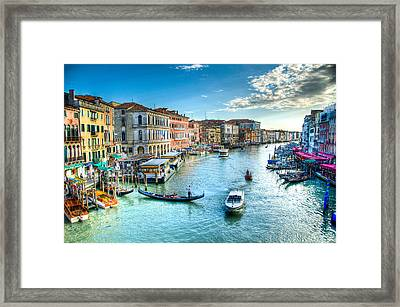 Rialto Bridge View Framed Print by Jon Berghoff