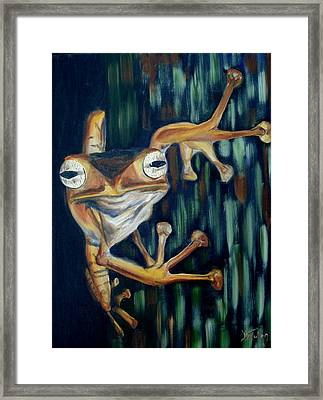 Framed Print featuring the painting Ribbit by Donna Tuten