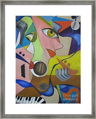 Framed Print featuring the painting Ribbon Of Blues And Jazz by Anna-maria Dickinson