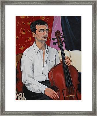 Ricardo With Cello Framed Print by Diana Blackwell