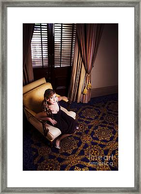 Rich Wealthy Woman Sitting In Upmarket Hotel  Framed Print by Jorgo Photography - Wall Art Gallery