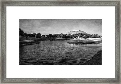 Richard Greene Linear Park And Att Stadium Bw Framed Print by Joan Carroll