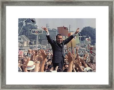 Richard M. Nixon Campaigning Framed Print by Everett