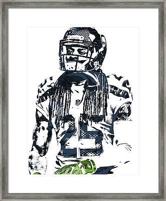 Richard Sherman Seattle Seahawks Pixel Art 4 Framed Print by Joe Hamilton