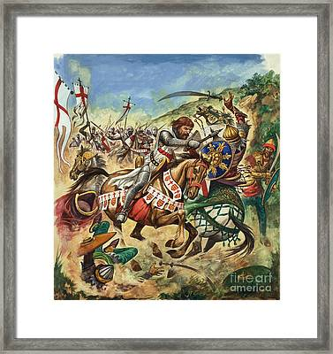 Richard The Lionheart During The Crusades Framed Print by Peter Jackson