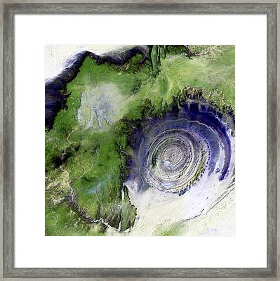 Richat Structure, Satellite Image Framed Print by Nasa