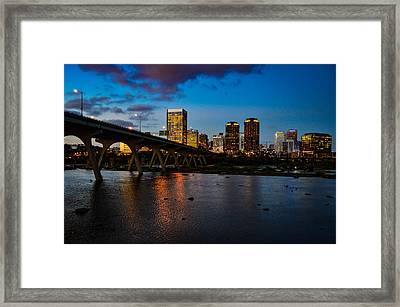 Richmond Skyline At Night Framed Print