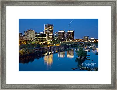 Richmond Skyline Helo Trail Framed Print