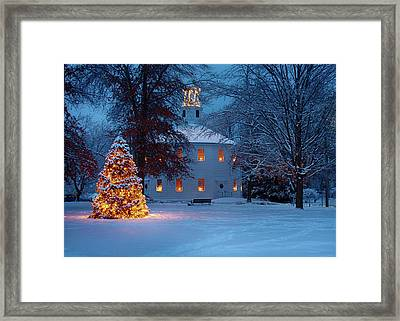 Richmond Vermont Round Church At Christmas Framed Print
