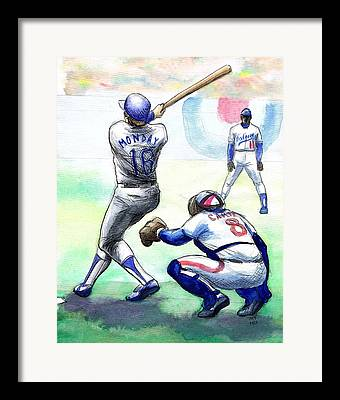 L.a. Dodgers Drawings Framed Prints