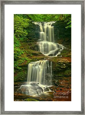 Ricketts Glen Tuscarora Falls Framed Print by Adam Jewell