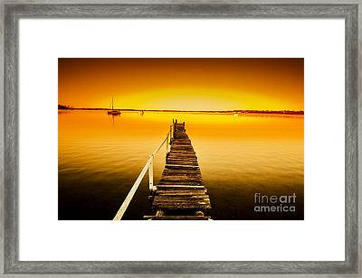 Rickety Pier Sunset Framed Print by Jorgo Photography - Wall Art Gallery