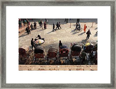 Rickshaw Taxis In Durbar Square Framed Print