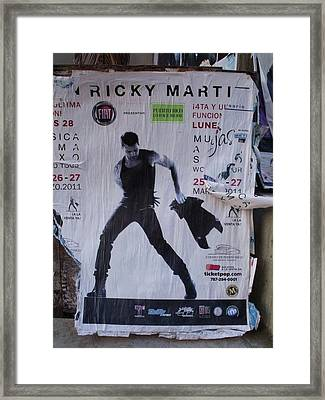 Ricky Martin In Concert Framed Print by Anna Villarreal Garbis
