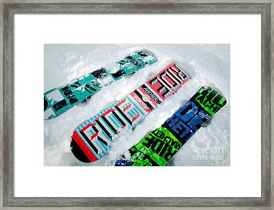 Ride In Powder Snowboard Graphics In The Snow Framed Print by Andy Smy