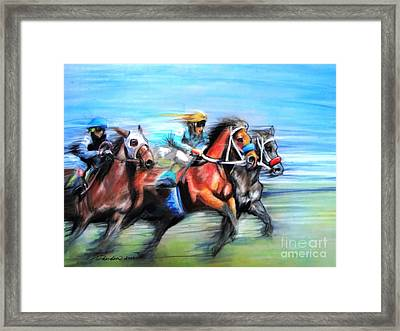 Framed Print featuring the painting Ride Like The Wind by Patricia L Davidson