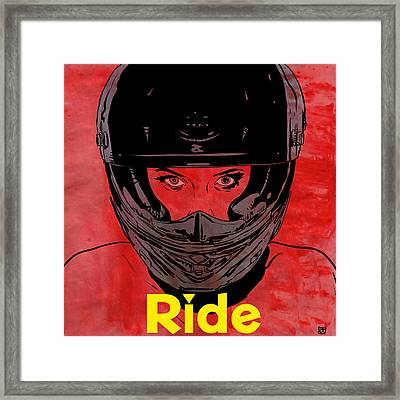 Framed Print featuring the drawing Ride / Text by Giuseppe Cristiano