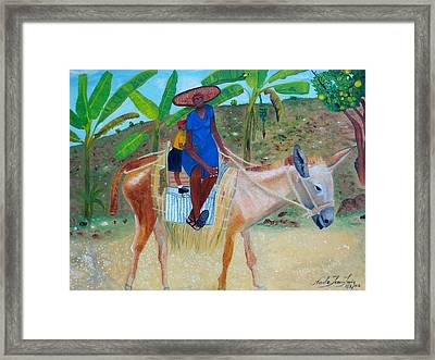 Framed Print featuring the painting Ride To School On Donkey Back by Nicole Jean-Louis