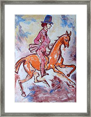 Framed Print featuring the painting Rider And Horse by Anand Swaroop Manchiraju