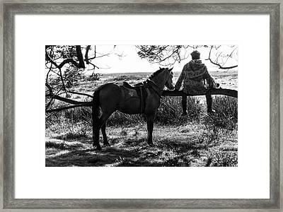 Rider And Horse Taking Break Framed Print