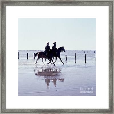 Rider On The Beach Framed Print by Heiko Koehrer-Wagner