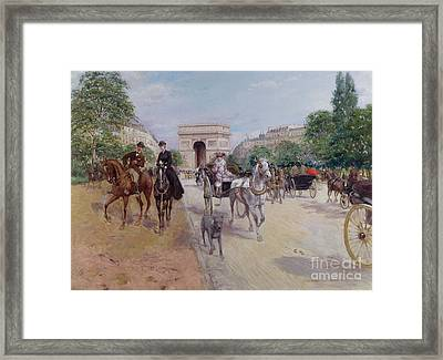 Riders And Carriages On The Avenue Du Bois Framed Print by Georges Stein