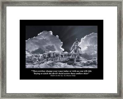 Riders In The Sky Bw Framed Print