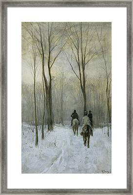 Riders In The Snow In The Hague Forest Framed Print