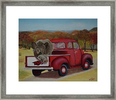 Ridin' With Razorbacks Framed Print