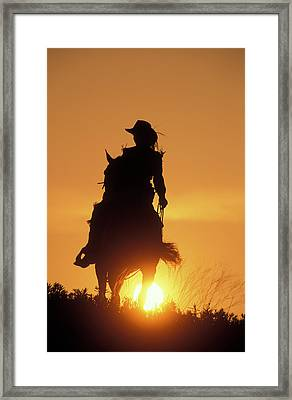Riding Cowgirl Sunset Framed Print