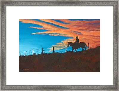 Riding Fence Framed Print by Jerry McElroy