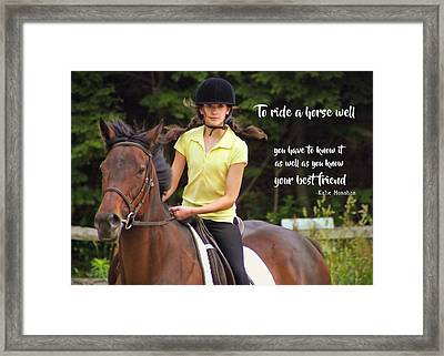 Riding Grace Quote Framed Print by JAMART Photography