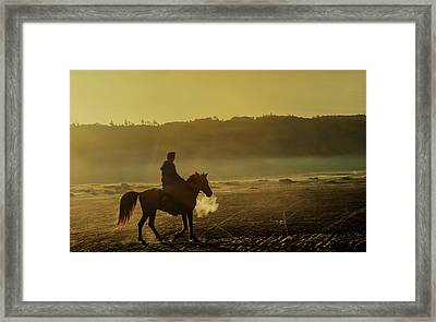 Framed Print featuring the photograph Riding His Horse by Pradeep Raja Prints