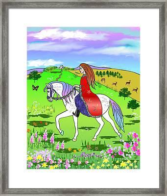 Riding On A Unicorn Framed Print by Frances Gillotti