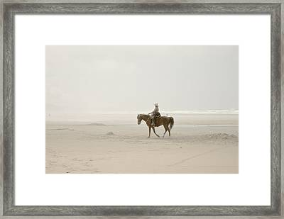 Framed Print featuring the photograph Riding On The Beach by Craig Perry-Ollila