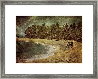 Riding On The Beach Framed Print by Vittorio Chiampan