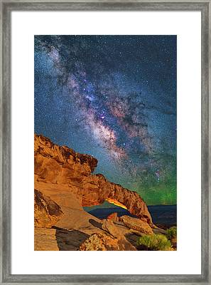 Riding Over The Arch Framed Print