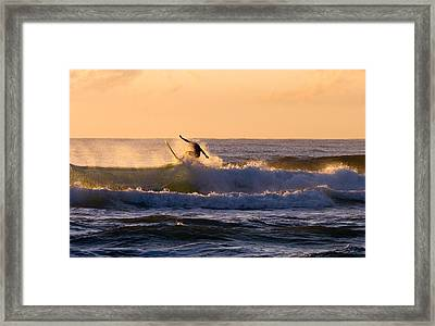 Riding The Crest Framed Print by Mike  Dawson
