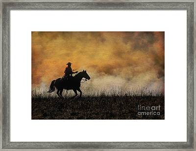 Riding The Fire Line Framed Print
