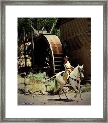 Framed Print featuring the painting Riding The Spanish Mare by Anastasia Savage Ealy