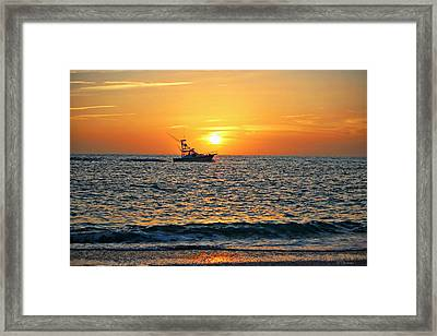 Riding The Sunset Framed Print by Barbara Chichester