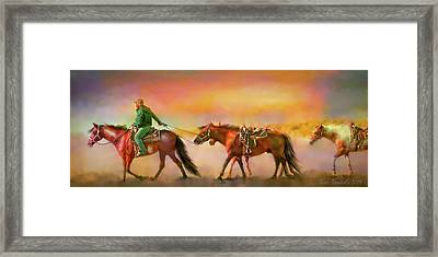 Riding The Surf Framed Print
