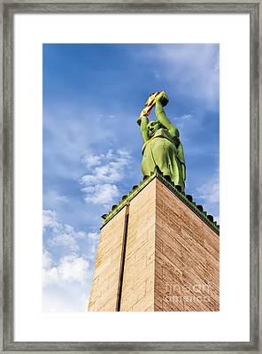 Riga Freedom Monument Looking Up Framed Print