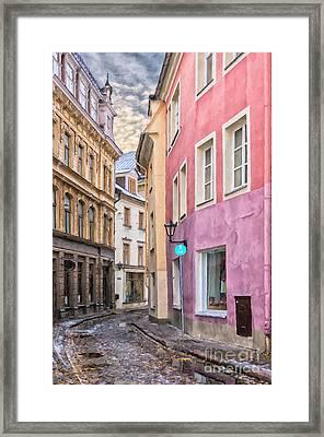 Riga Narrow Road Digital Painting Framed Print by Antony McAulay