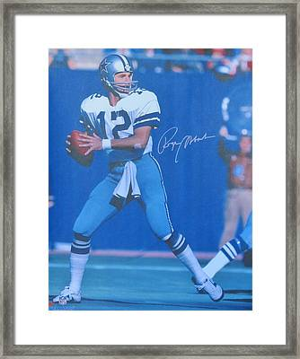Roger Staubach #12 Dallas Cowboys Quarterback Framed Print by Donna Wilson