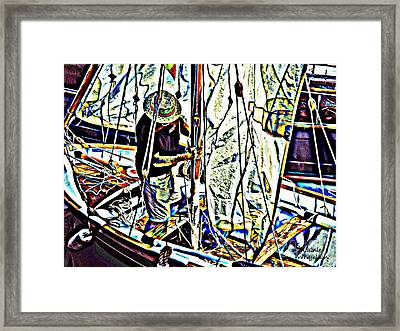 Rigging His Boat Framed Print by Lainie Wrightson